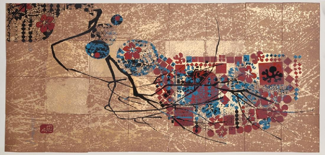 Lebadang, Spring Cherry Blossoms, Screenprint with Gold
