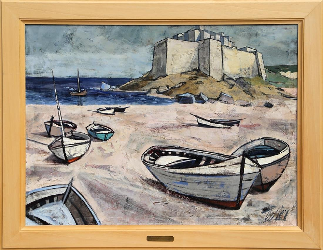 Charles Levier, Le Bord de la Mer, Oil on Canvas