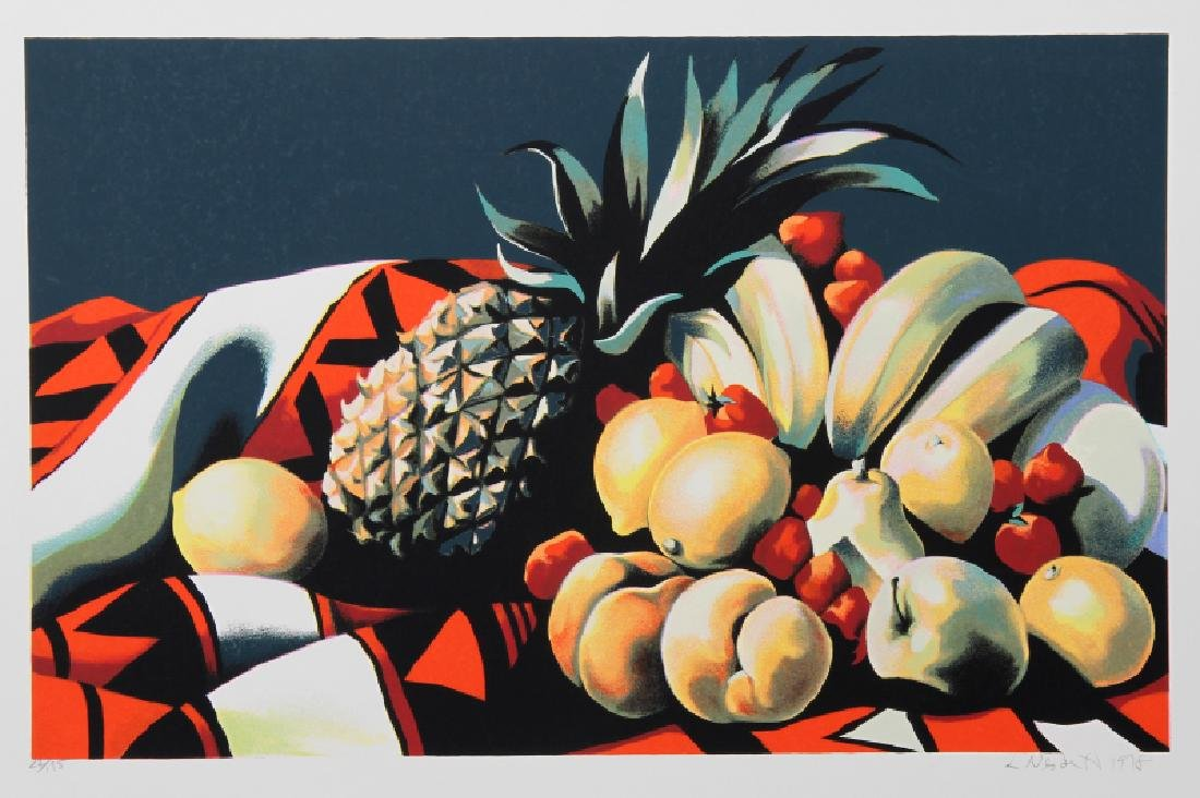 Lowell Blair Nesbitt, Fruits on Rug II, Serigraph