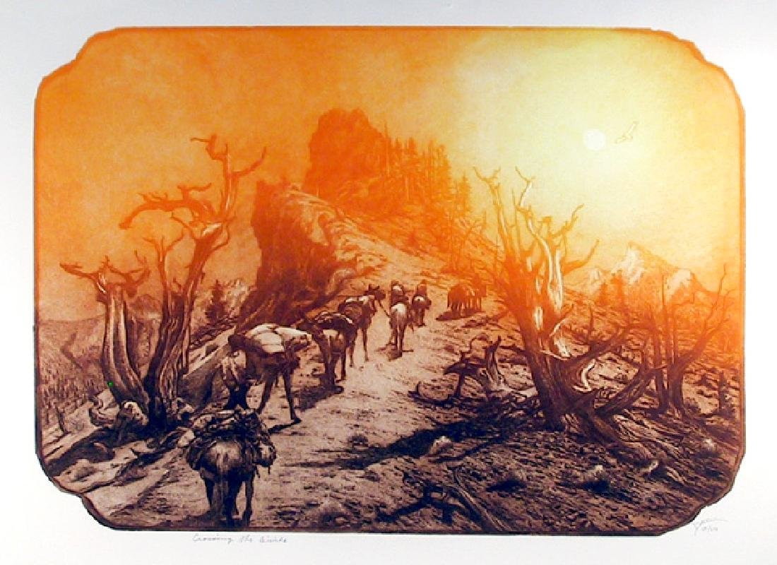 Roy Purcell, Crossing the Divide, Etching