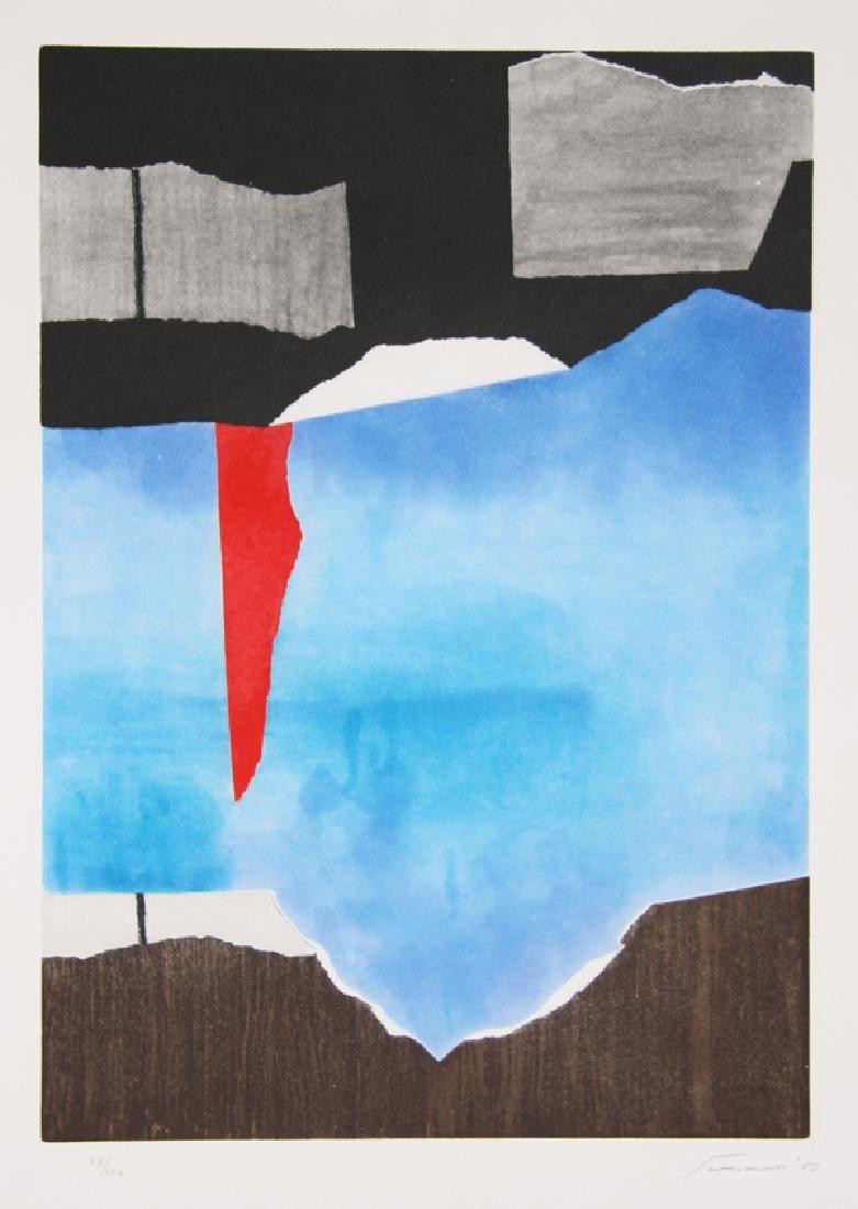Giuseppi Santomaso, Brown, Blue, Black Abstract,