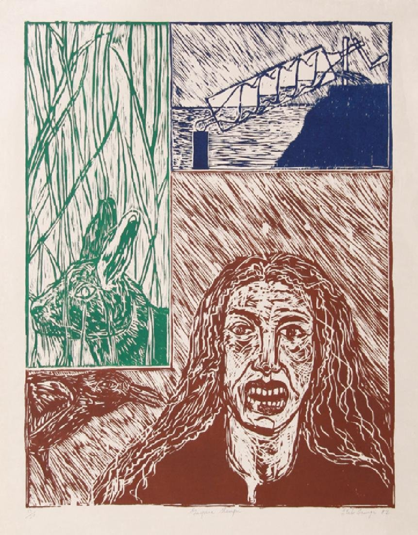 Italo Scanga, Gaspara Stampa, Woodcut on Japon