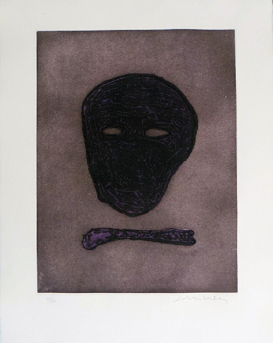 Fritz Scholder, The Mask of the Artist, Etching with