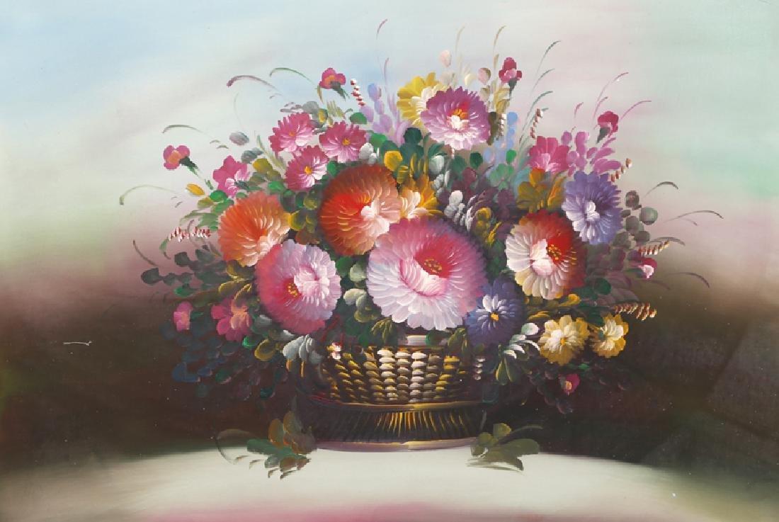 Chuju Sheng, Spring Flowers in Gold Vase (3), Oil on
