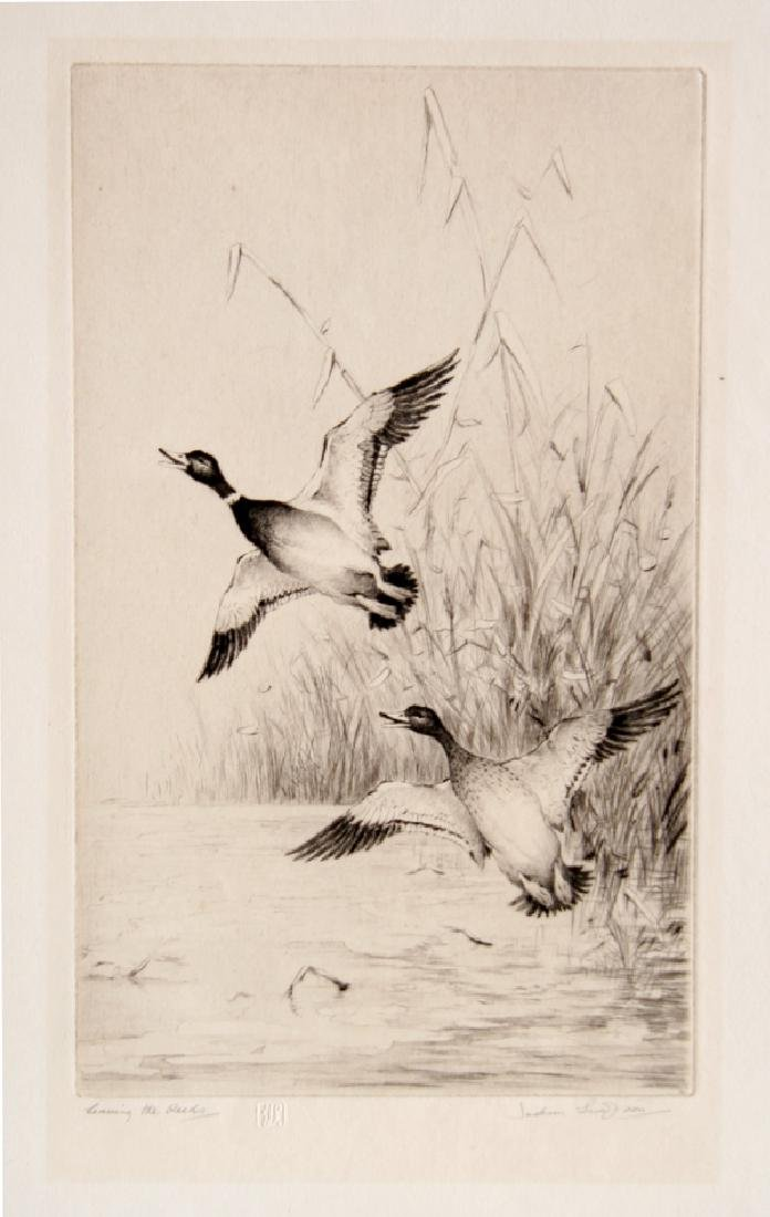 Henry Jackson Simpson, Leaving the Reeds, Etching