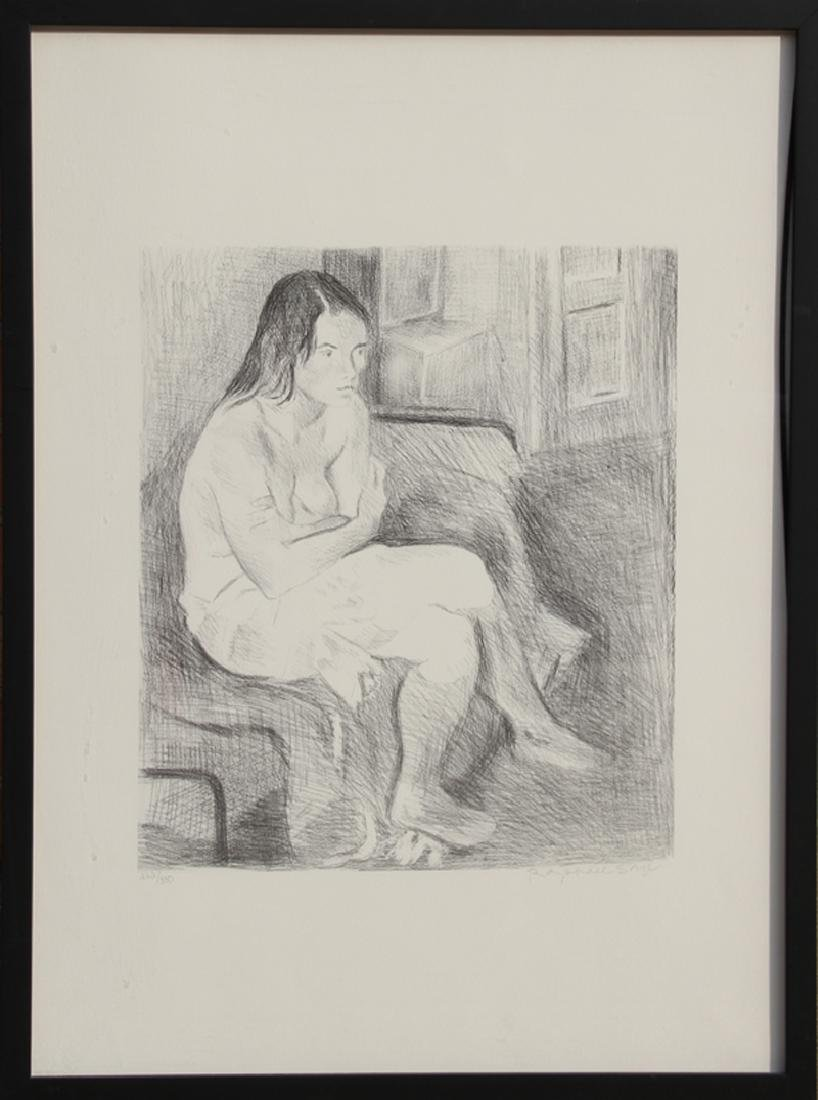 Raphael Soyer, Seated Nude, Rose Stockings (Black and
