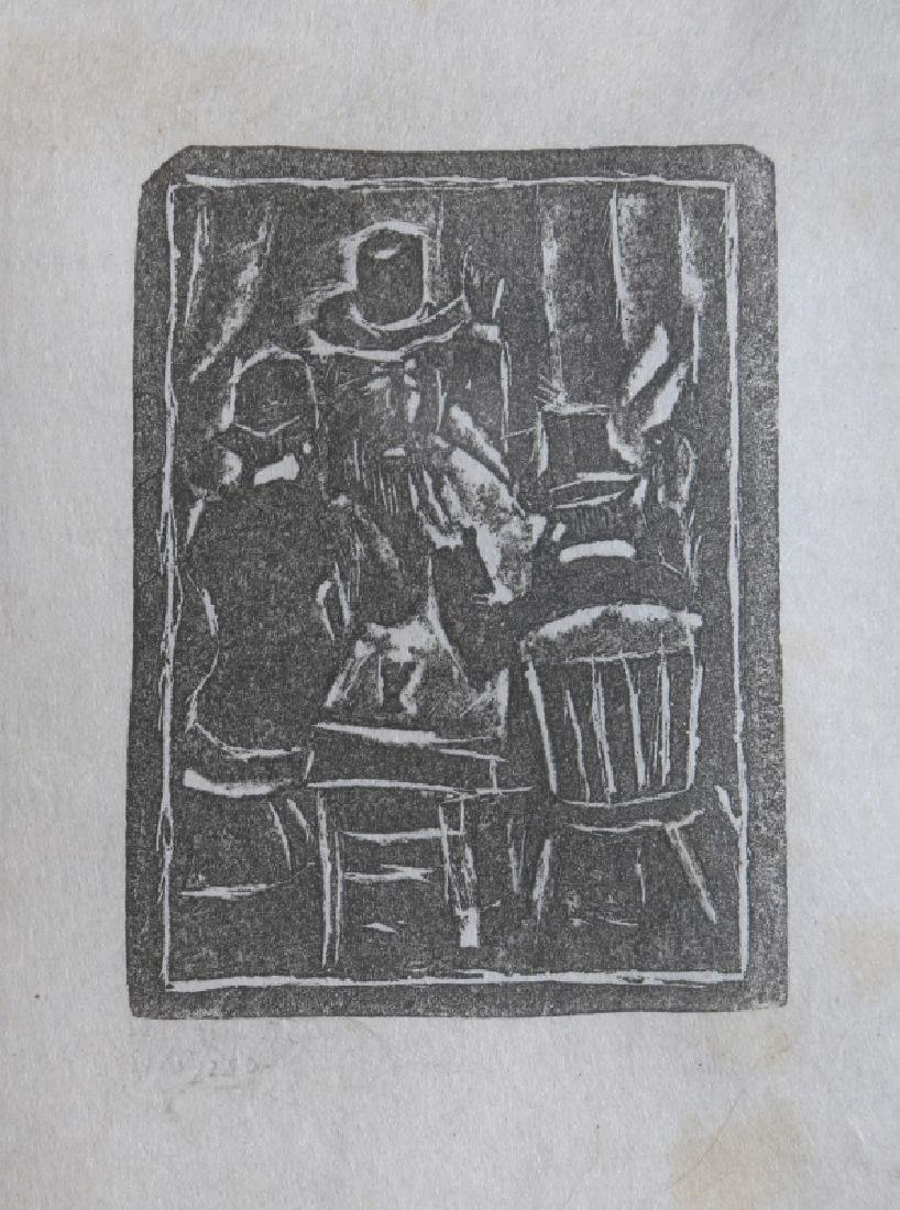 Max Weber, Three Seated Men, Woodcut