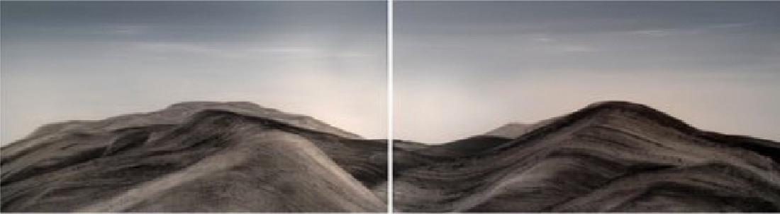 Aharon Gluska, Landscape II, Diptych Acrylic and Mixed
