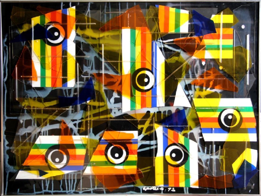 Max Epstein, Collage II, Color Plexi-Glass Collage