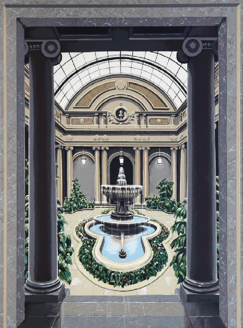 Richard Haas, Frick Garden Courtyard, Screenprint on