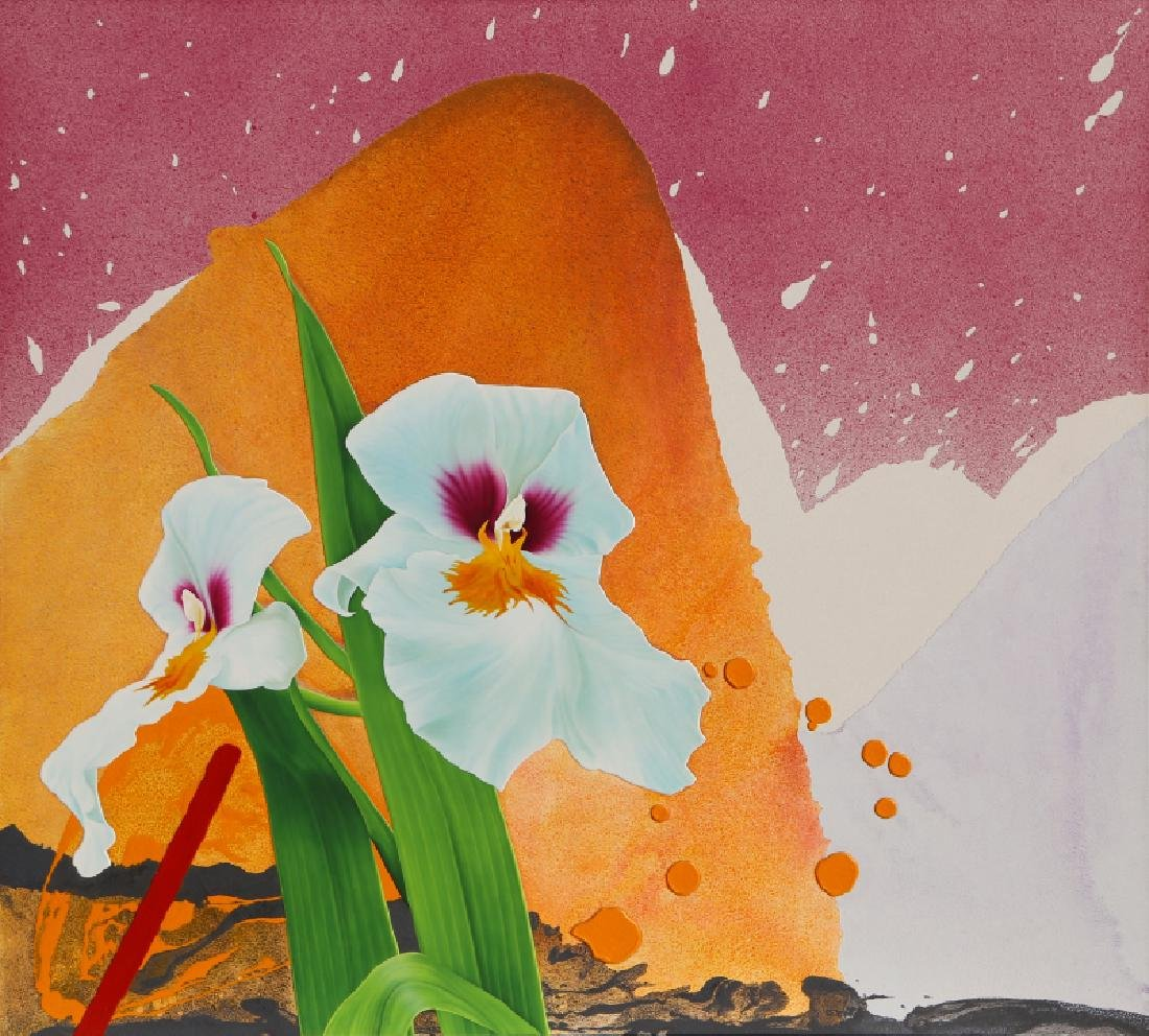 Michael Knigin, White Irises, Acrylic Painting