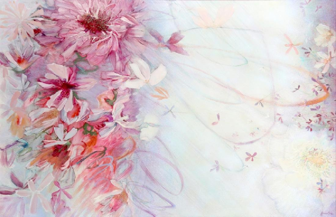 Florence Hasenflug, Pink Flower Blossoms, Oil Painting
