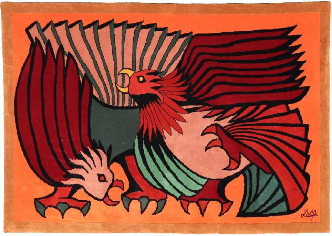 Victor Delfin, Orange Fighting Cocks, Woolen Tapestry