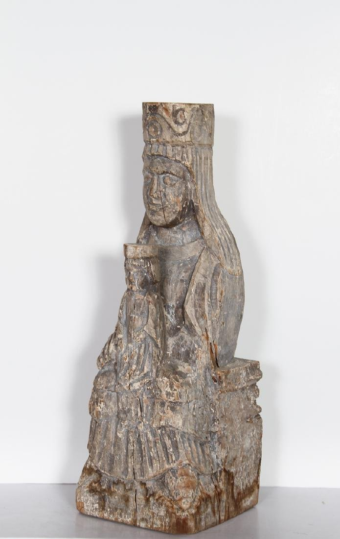Mother and Child, Hand-Carved Wood Sculpture