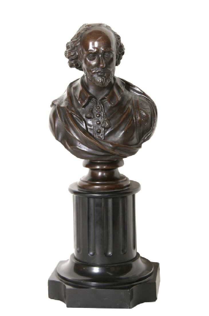 Shakespeare Bust, Bronze Sculpture with Patina