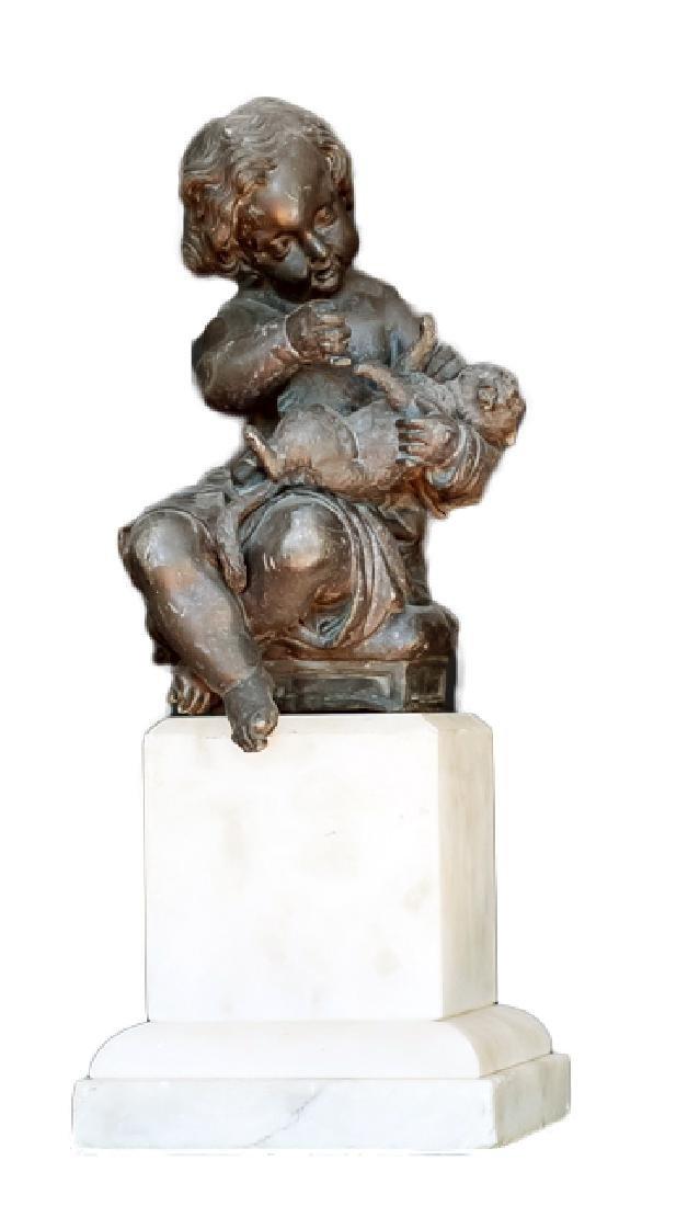 Child with Pug, Bronze Sculpture