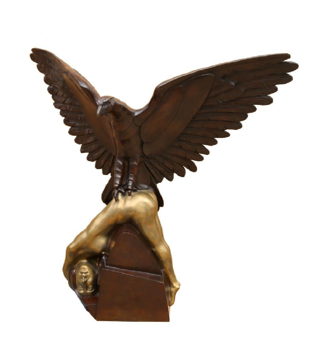 Arturo di Modica, Hawk with Woman, Patinated Bronze