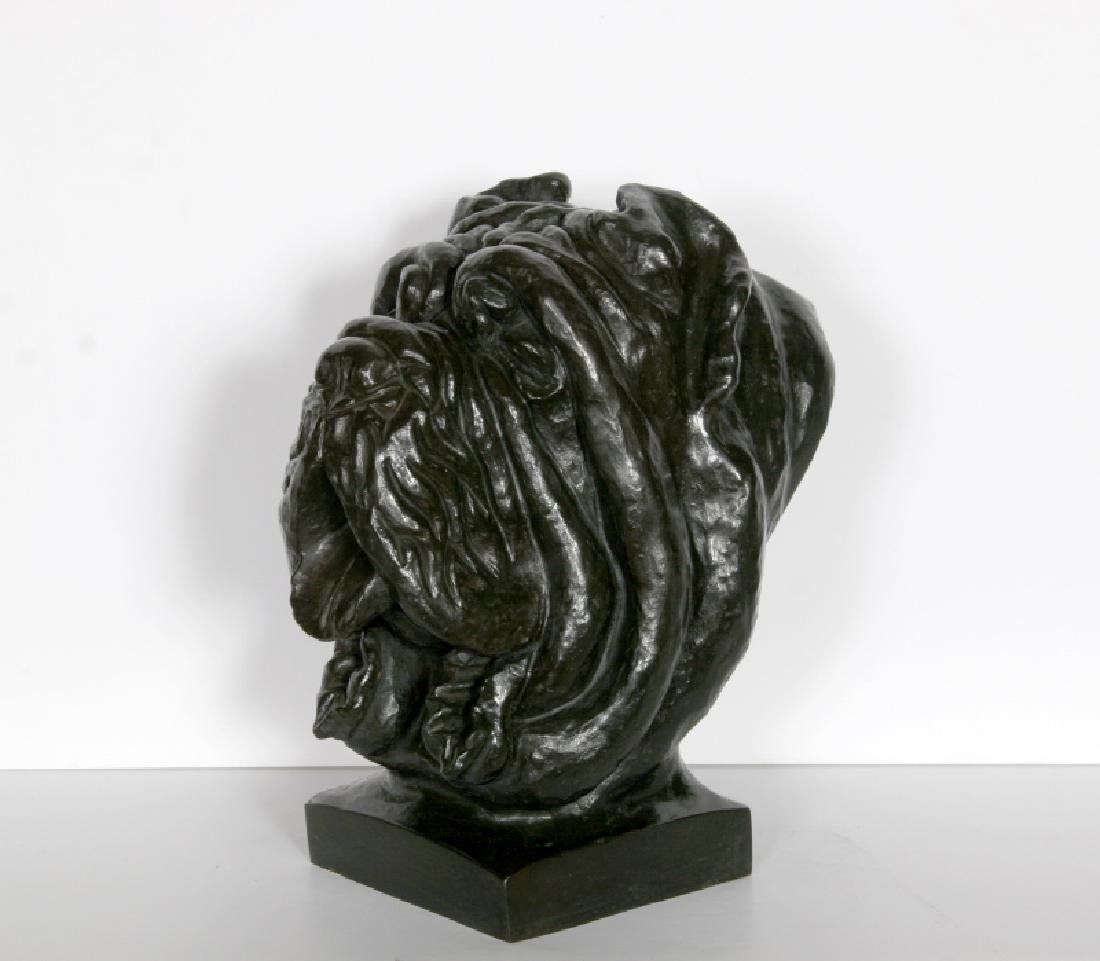 Cane Corso Dog Bust, Bronze Sculpture with Patina