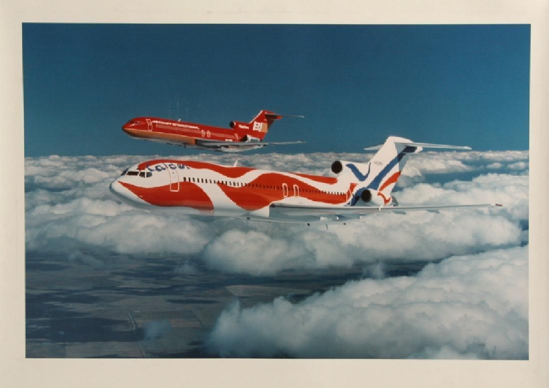 Alexander Calder's Painted Braniff Airplanes in flight,