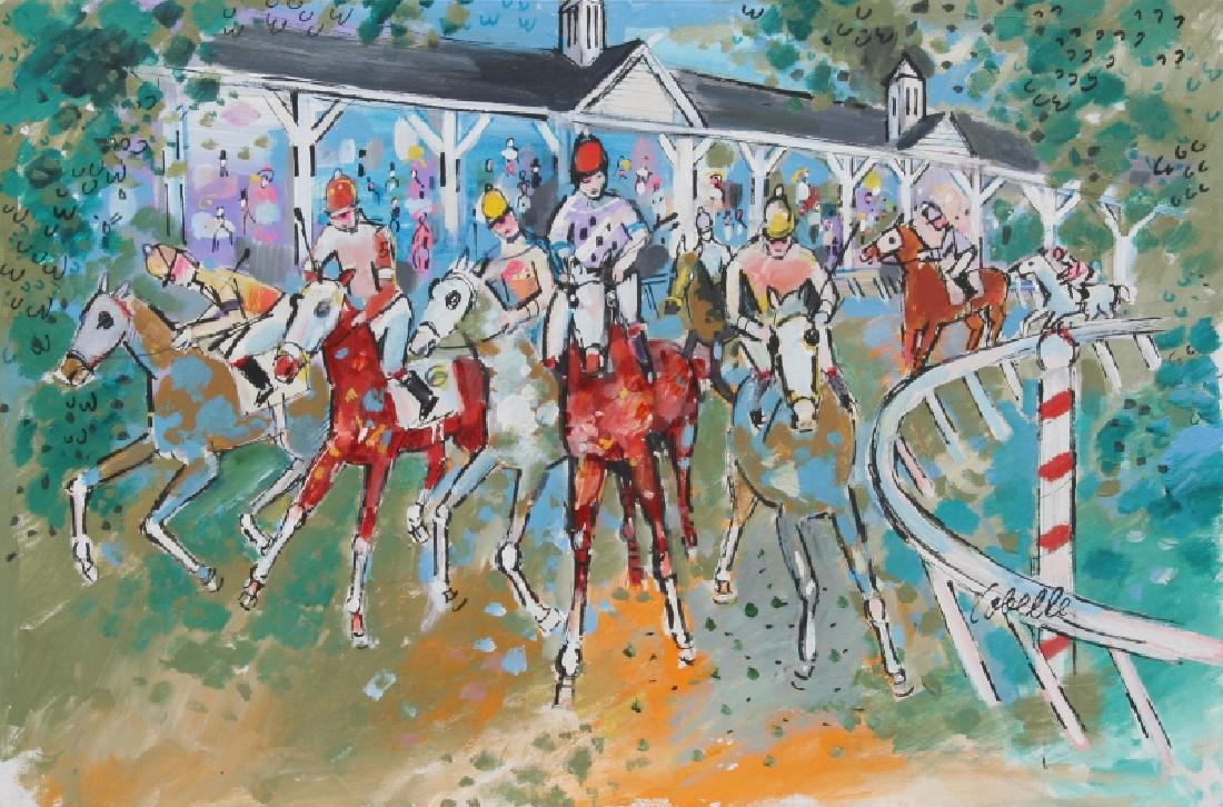 Charles Cobelle, Horse Race, Acrylic Painting