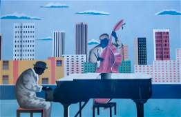 Rooftop City Jazz, Oil Painting
