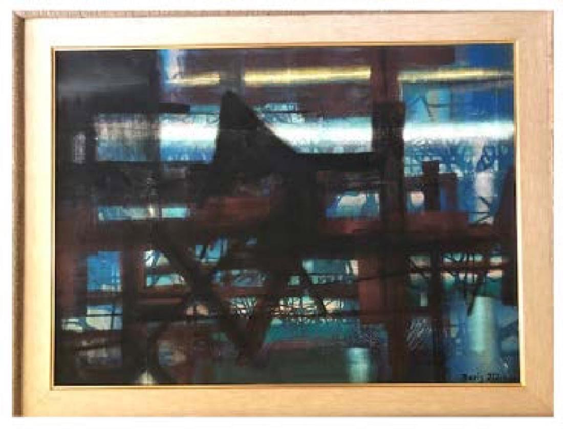 Boris Margo, Dark Abstract, Oil Painting