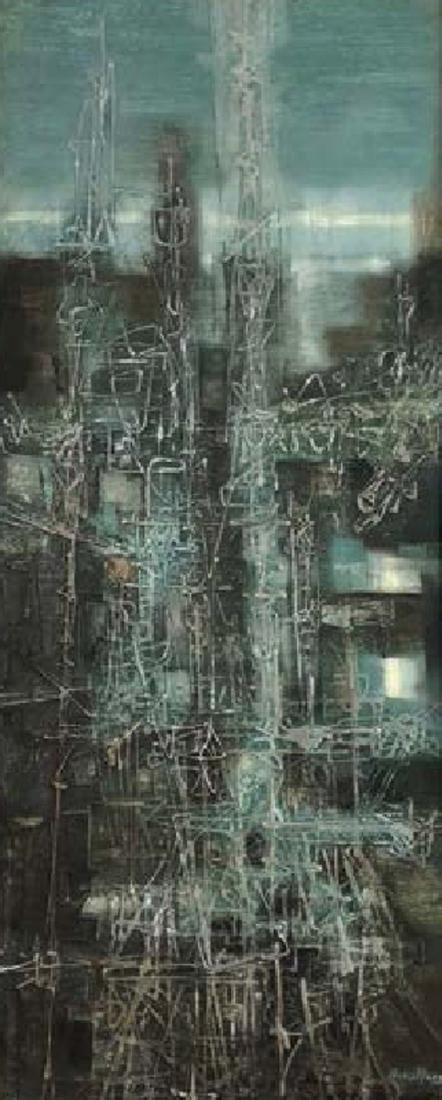 Boris Margo, Metallic Abstract, Oil on Metal