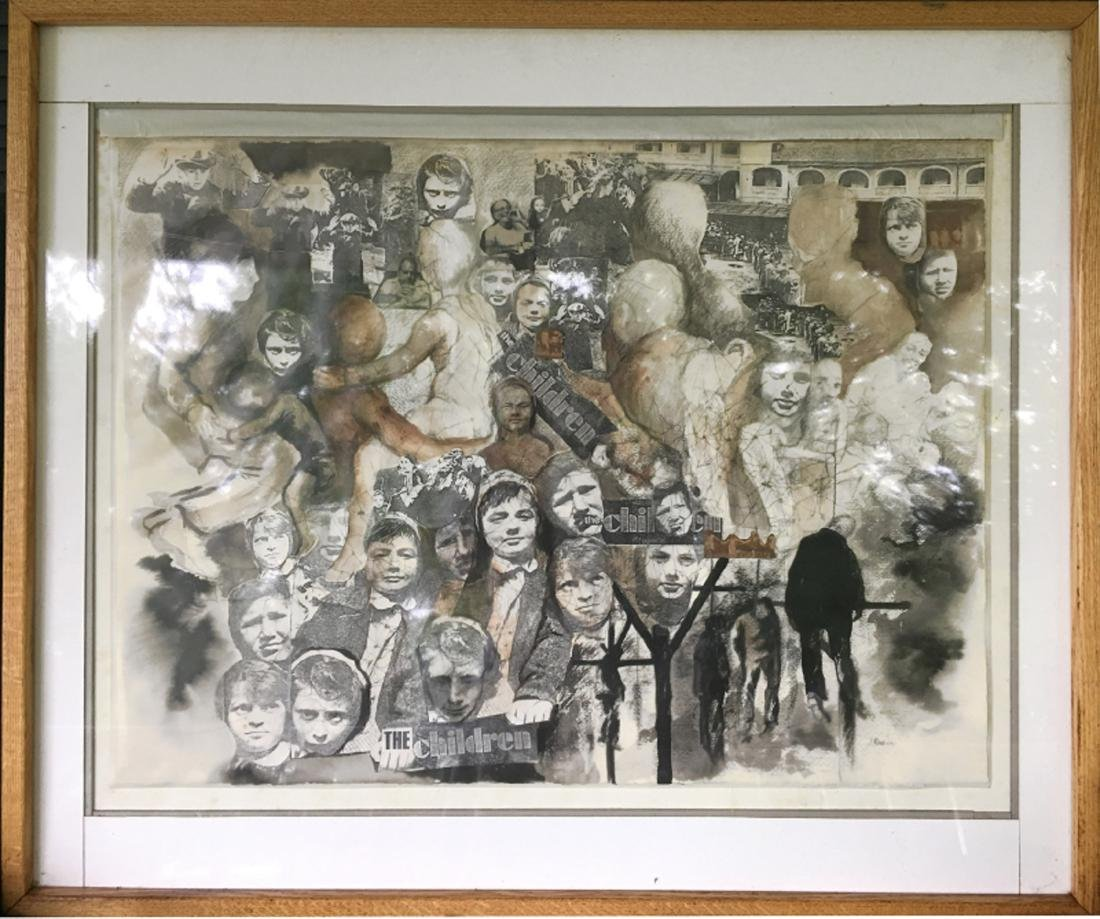 J. Rabin, The Children, Mixed Media Collage