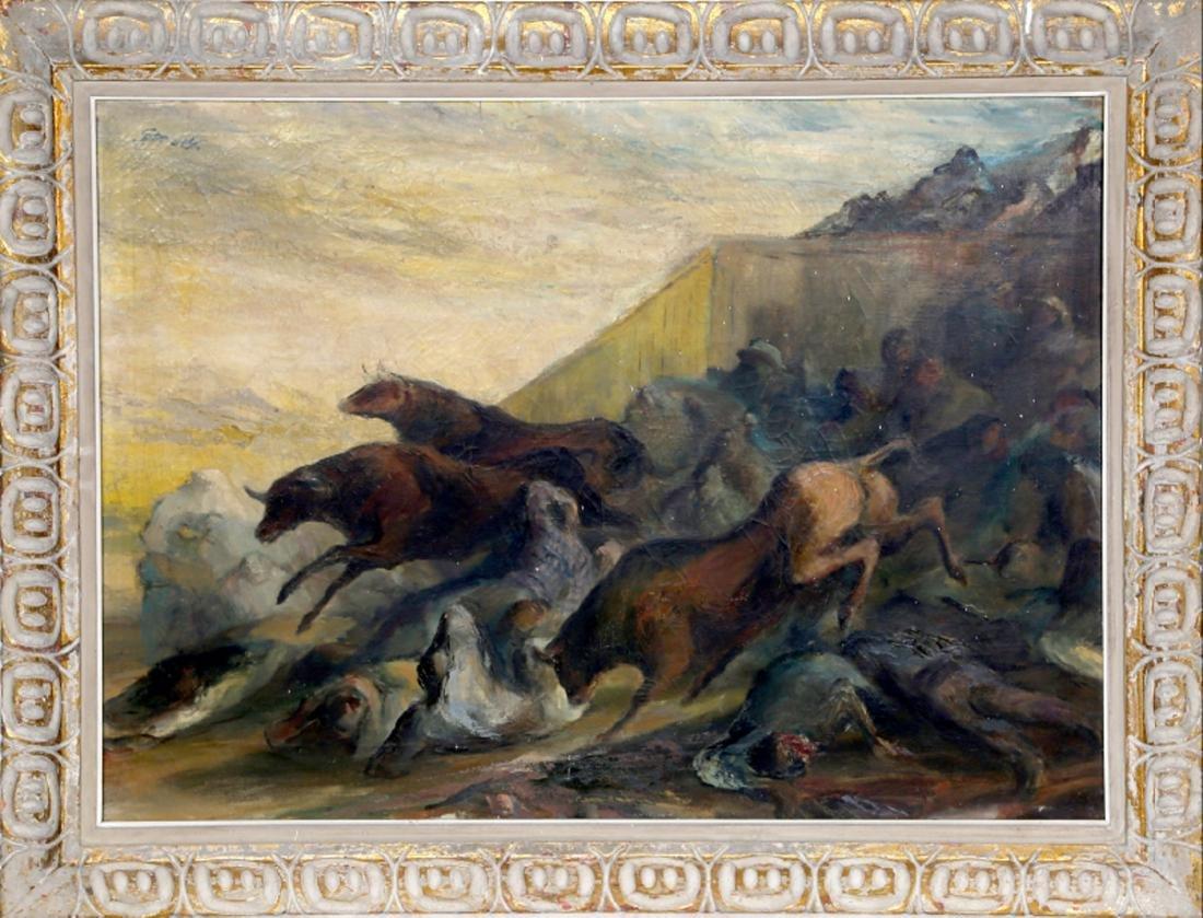 John August Groth, Running of the Bulls, Oil Painting
