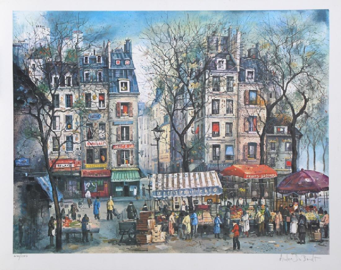 Andre DuBoidt, Paris Street Scene, Lithograph