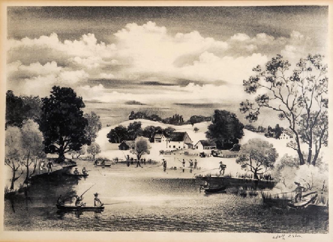 Adolf Arthur Dehn, Fishing, Lithograph