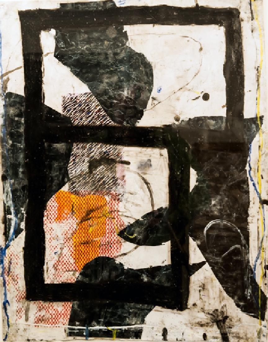 Robert Baribeau, Black Squares, Mixed Media Painting