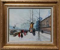 Louis Dancourt, Along the Seine, Oil Painting