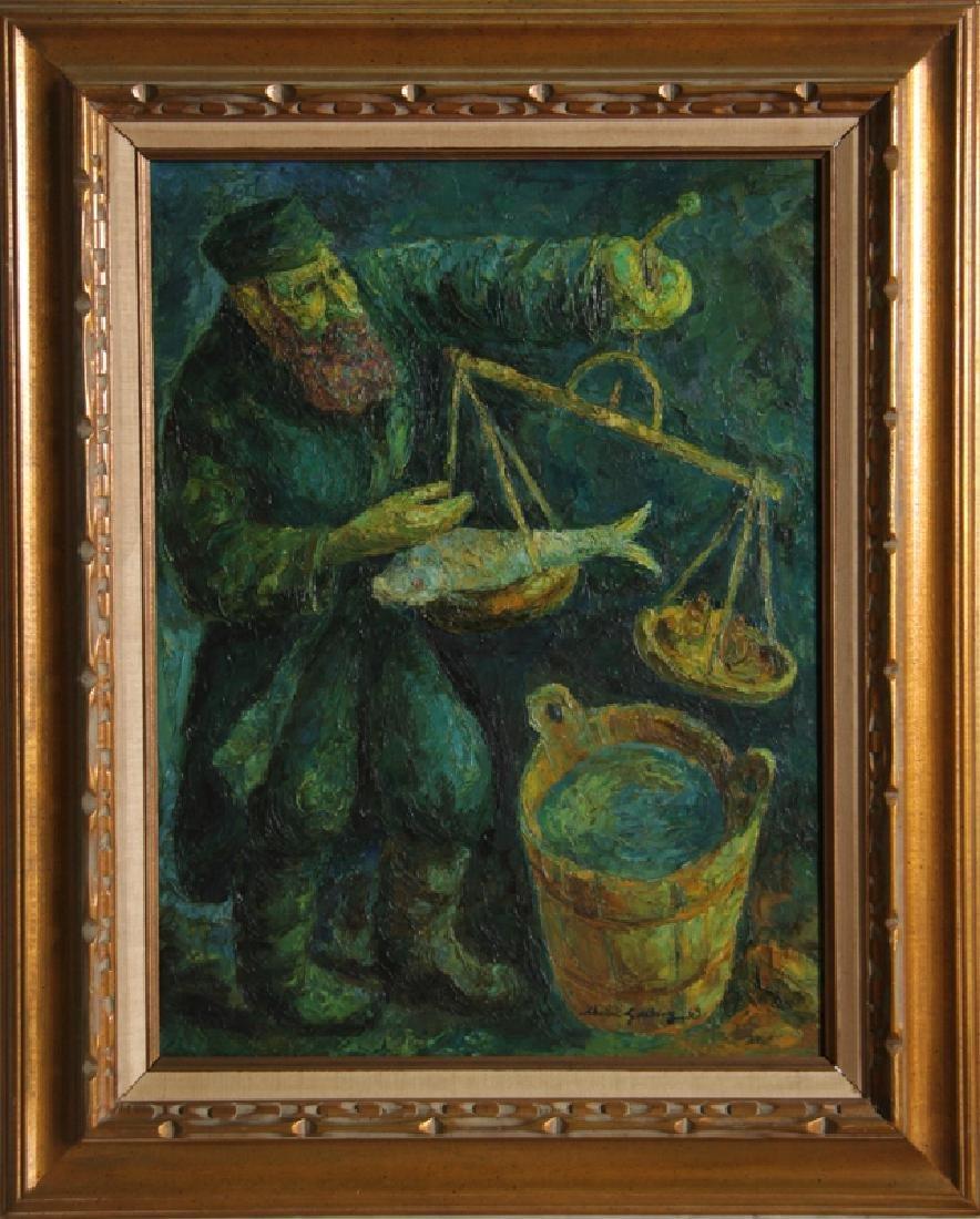 Chaim Goldberg, Fishmonger, Oil Painting
