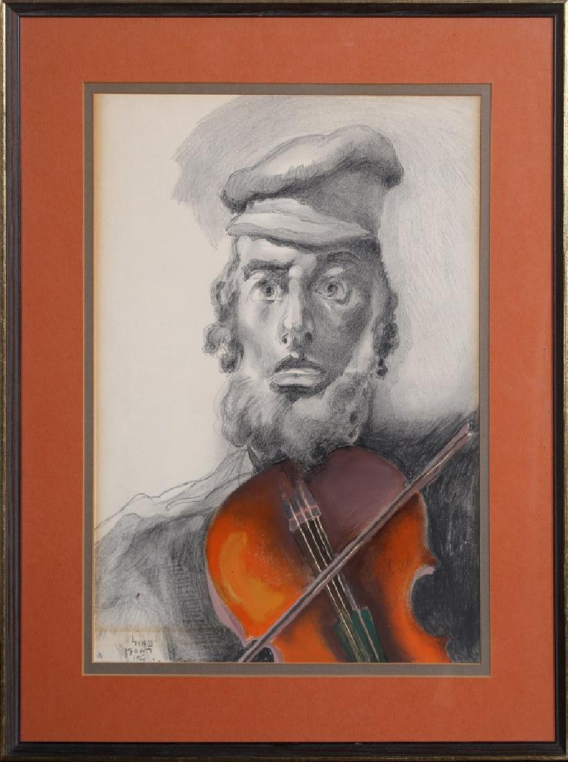 Saul Raskin, Fiddler, Graphite and Watercolor Painting