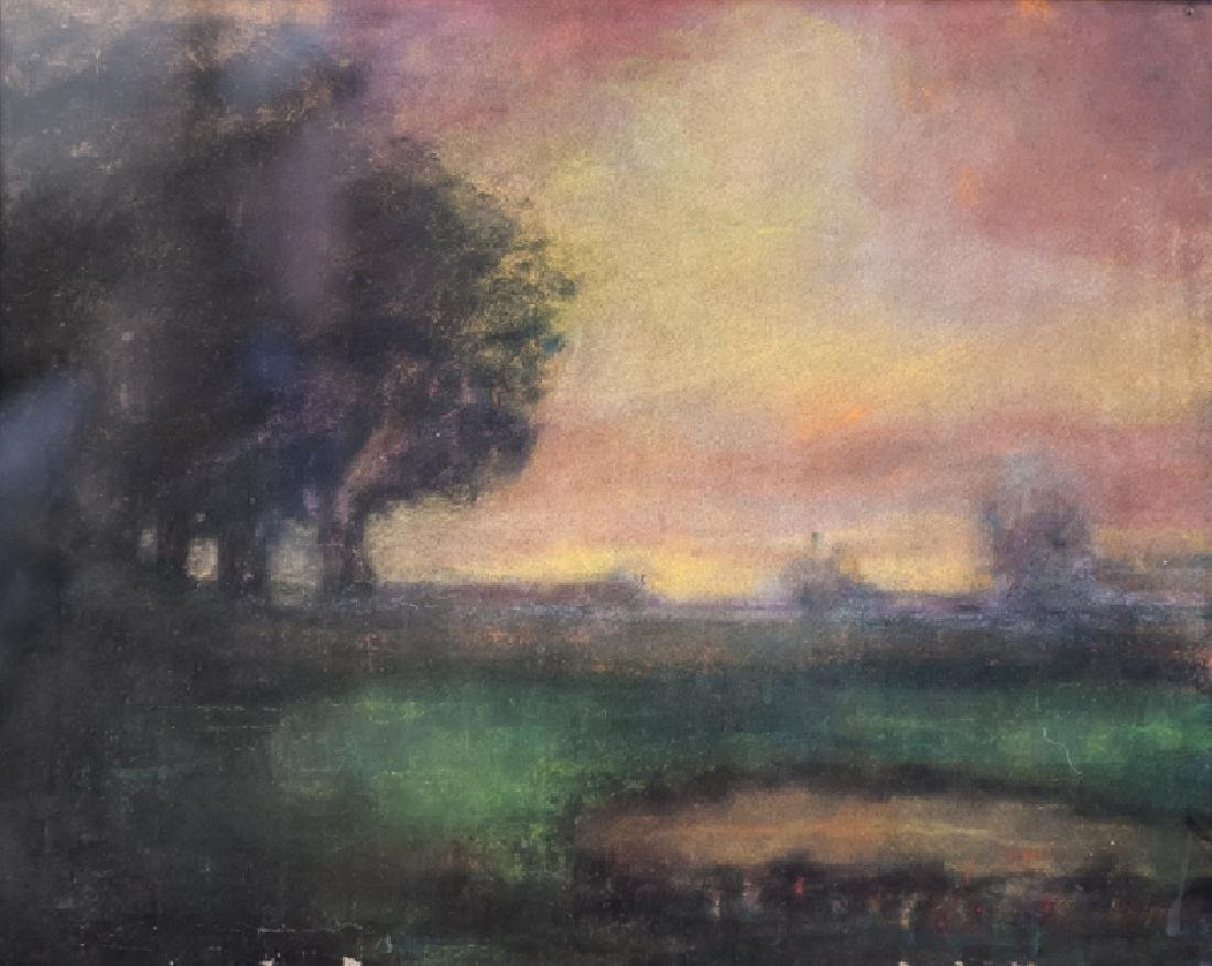 Hudson Valley School Landscape, Pastel Painting