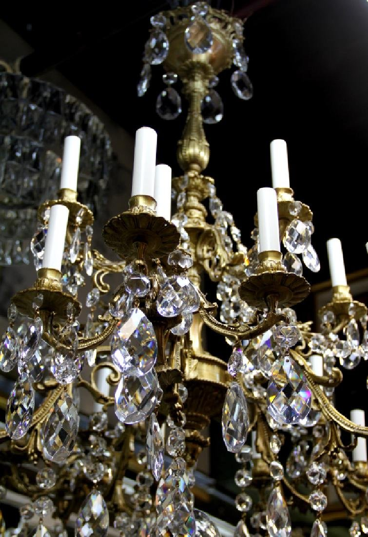 French Crystal Chandelier, Bronze Chandelier with 24