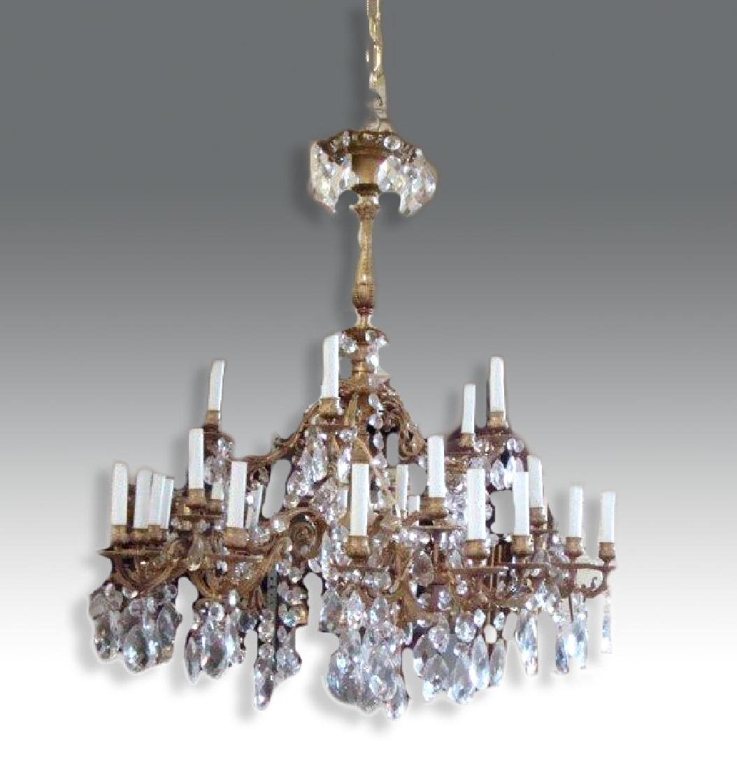 French Crystal Chandelier, Bronze Chandelier with 24 - 2