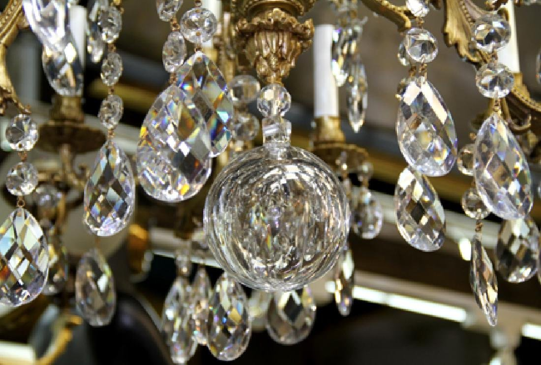 French Crystal Chandelier, Bronze Chandelier with 24 - 3