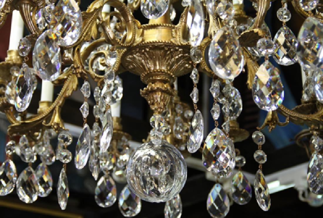 French Crystal Chandelier, Bronze Chandelier with 24 - 5