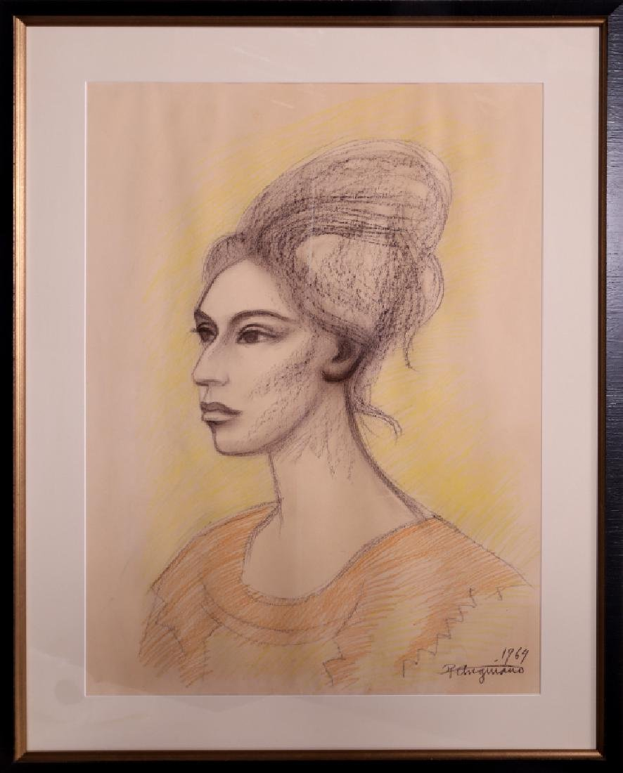 Raul Anguiano, Portrait of a Woman, Pastel Drawing