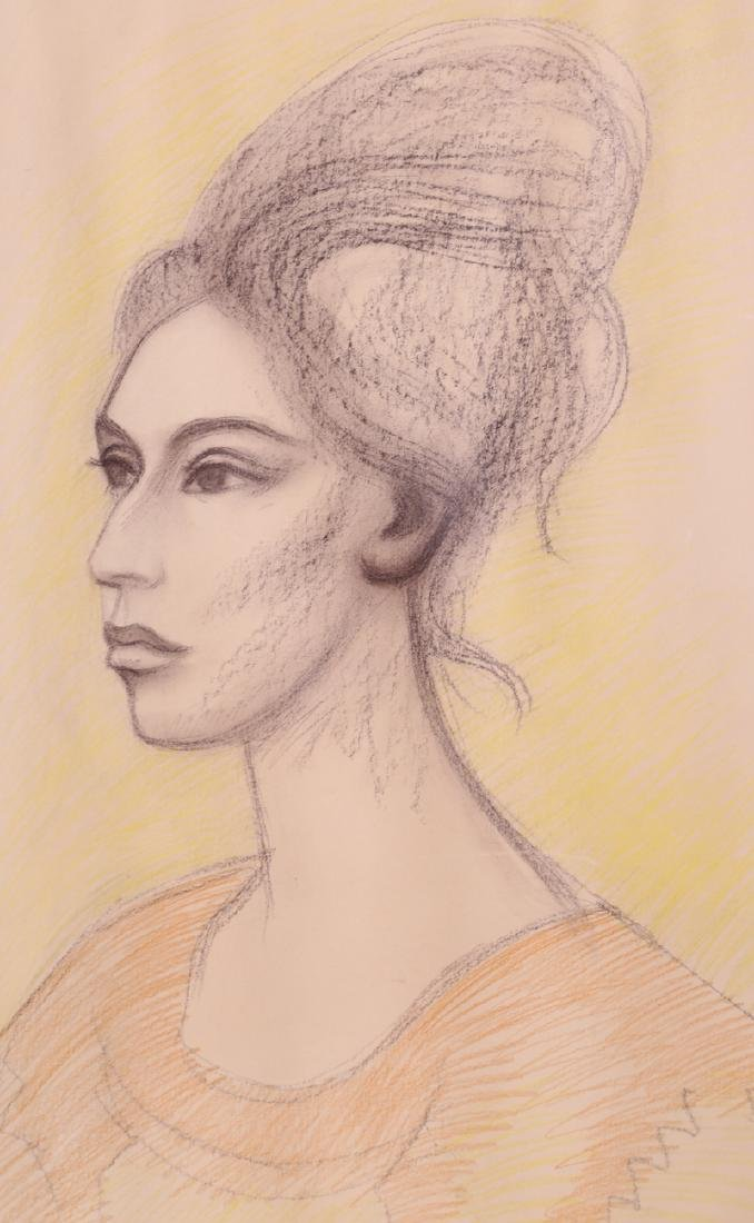 Raul Anguiano, Portrait of a Woman, Pastel Drawing - 2