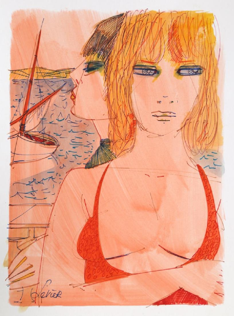 Charles Levier, Sailing in Red Swimsuit, Watercolor