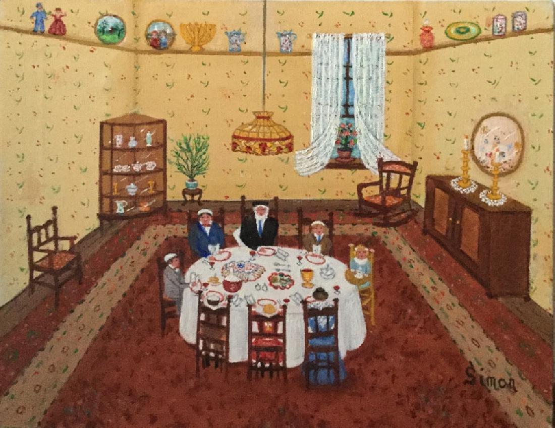 Mollie Simon, Shabbat, Oil Painting