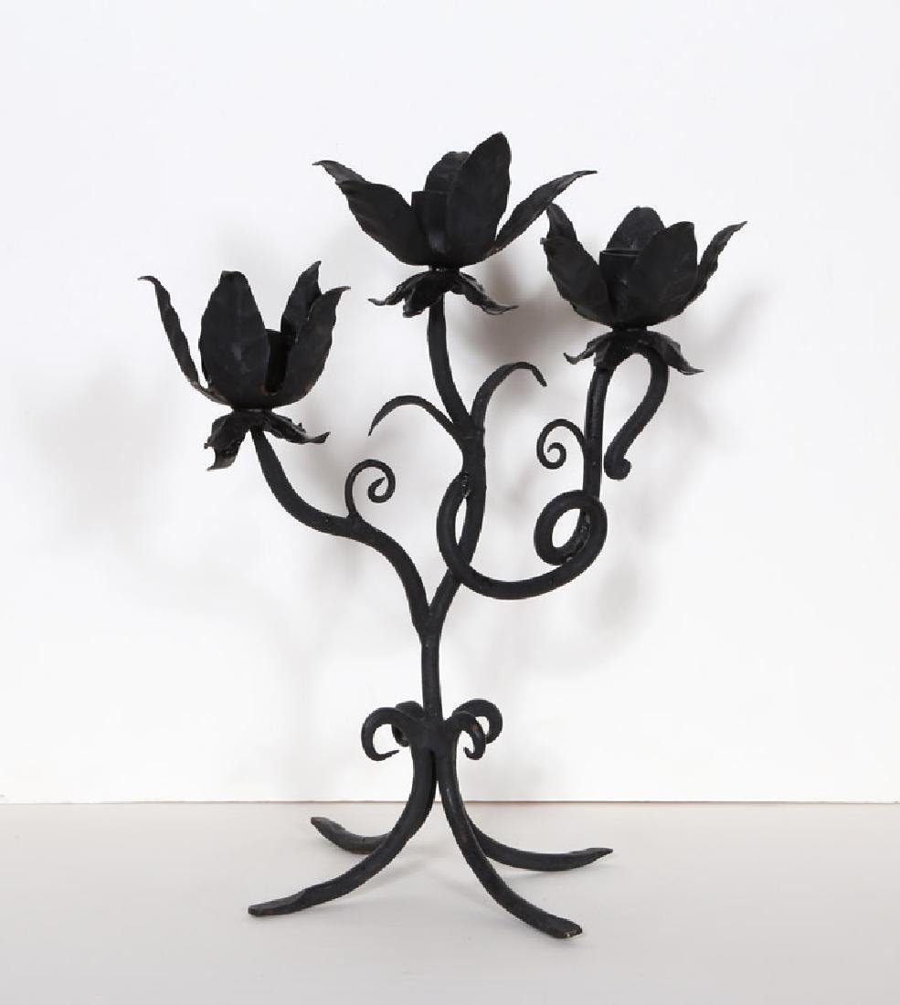 Black Floral Candle Holder, Wrought Iron