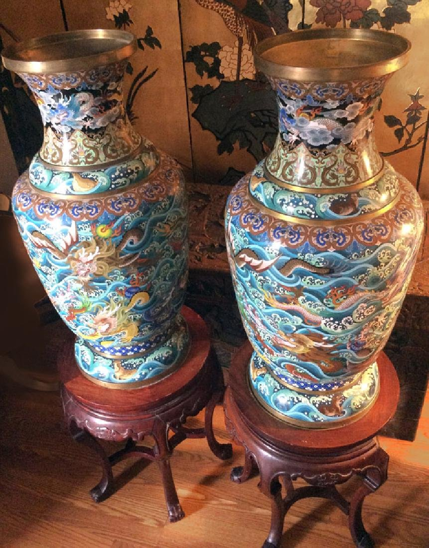 Chinese Dragons and Waves, Pair of Cloissone Urns