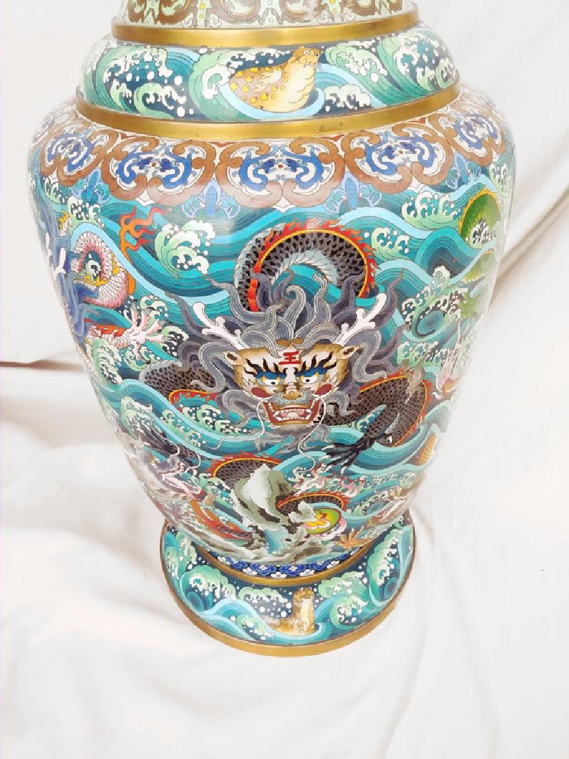 Chinese Dragons and Waves, Pair of Cloissone Urns - 3