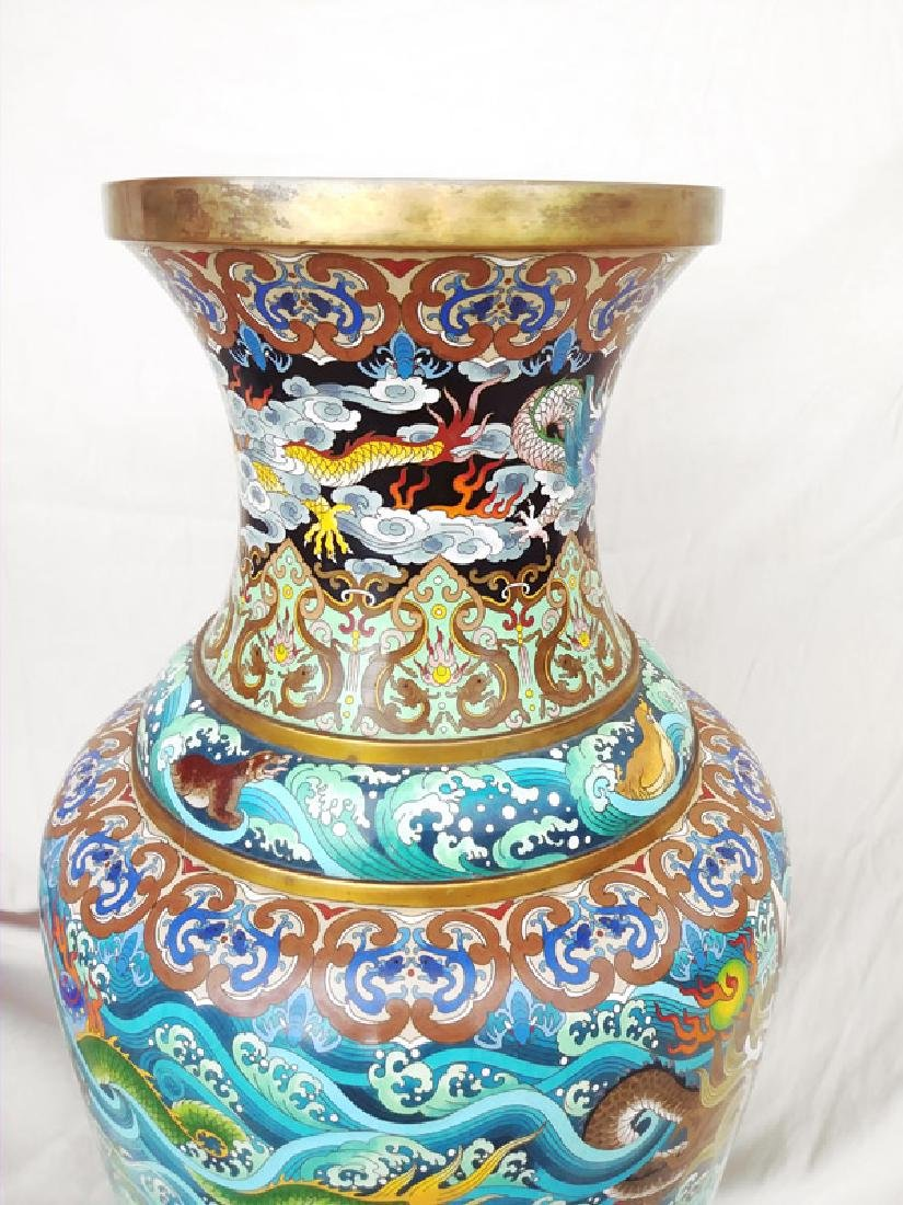 Chinese Dragons and Waves, Pair of Cloissone Urns - 4