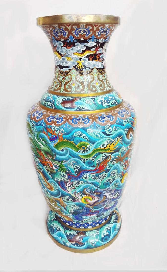 Chinese Dragons and Waves, Pair of Cloissone Urns - 5