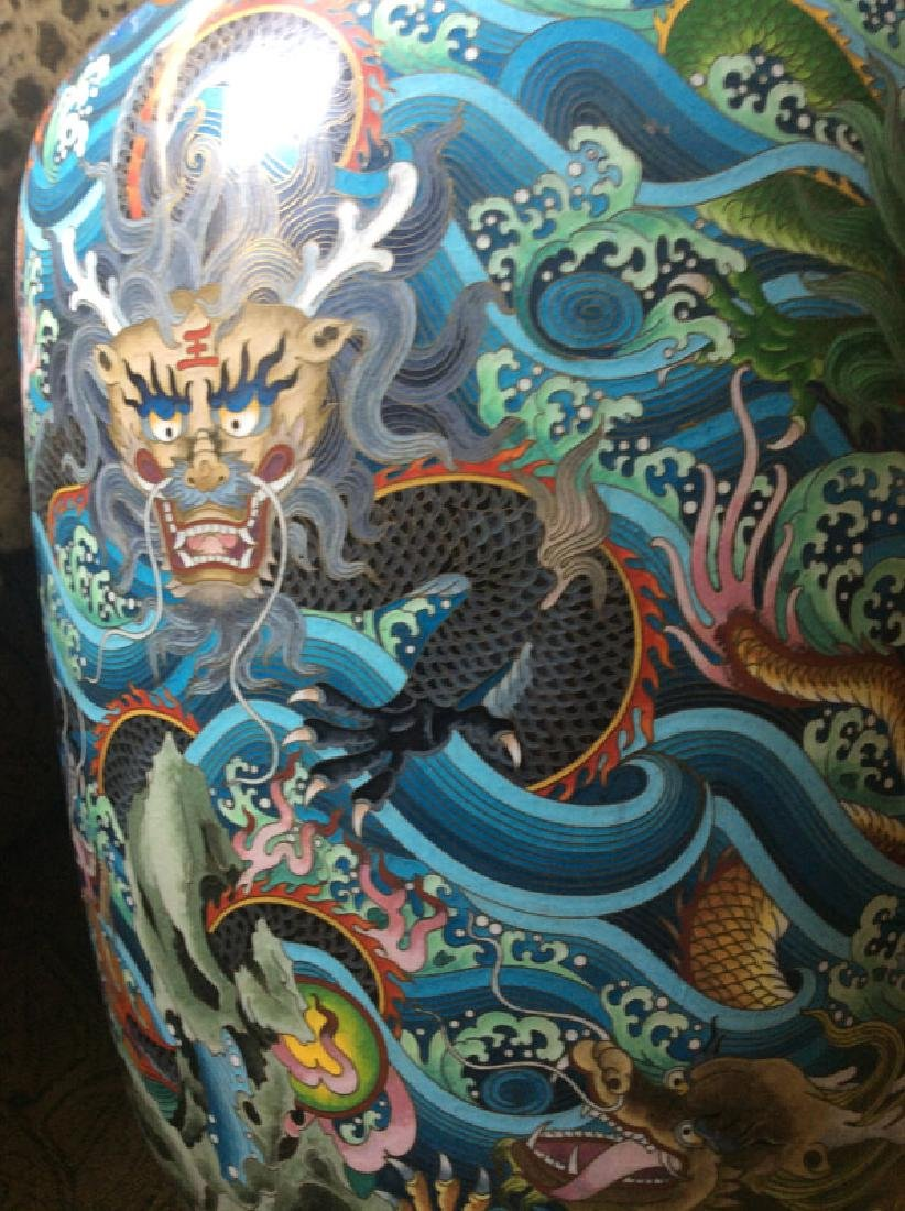Chinese Dragons and Waves, Pair of Cloissone Urns - 7